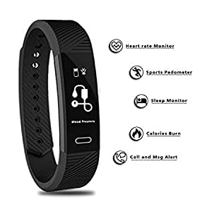 MEDICATIVE OLED Touchscreen Fitness Tracker with Heart Rate Monitor, Pedometer (Black)