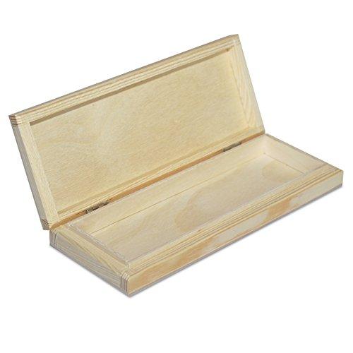 Creative Deco Stiftebox Holzbox Holzkiste mit Deckel   20,7 x 8 x 3,8 cm   Aufbewahrungsbox, Holz-Schachtel, Linde unbehandelt (Holz-schachteln)