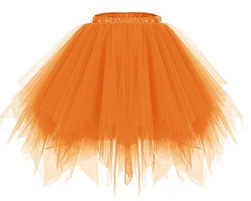 bridesmay Tutu Damenrock Tüllrock 50er Kurz Ballet Tanzkleid Unterkleid Cosplay Crinoline Petticoat für Rockabilly Kleid Orange S (Judas Kostüm)