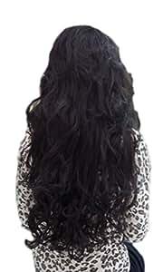WAVY WEFTS HAIR PIECE HALF WIG DARK BROWN XL COLOUR 4 IN HIGH HEAT (NEW)