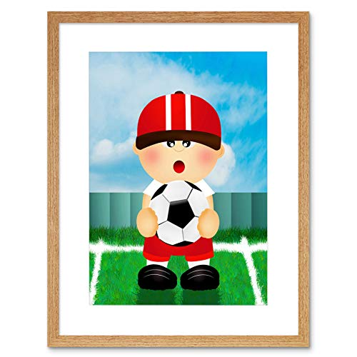 NURSERY SPORTSMAN FOOTBALL SOCCER PITCH BLACK KIDS BEDROOM ART PRINT B12X13452