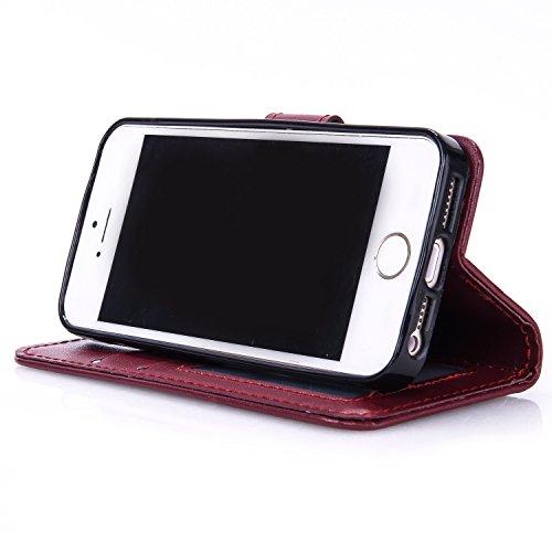 JIALUN-Telefon Fall Mit Kartensteckplatz, Lanyard, Druck Schönes Muster Mode Open Handy Shell Für IPhone 5S 5 SE ( Color : Purple , Size : IPhone 5S SE ) Wine Red