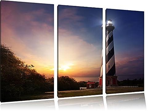 Cape Hatteras Leuchttum 3-Teiler Leinwandbild 120x80 Bild auf Leinwand, XXL riesige Bilder fertig gerahmt mit Keilrahmen, Kunstdruck auf Wandbild mit Rahmen, gänstiger als Gemälde oder Ölbild, kein Poster oder Plakat