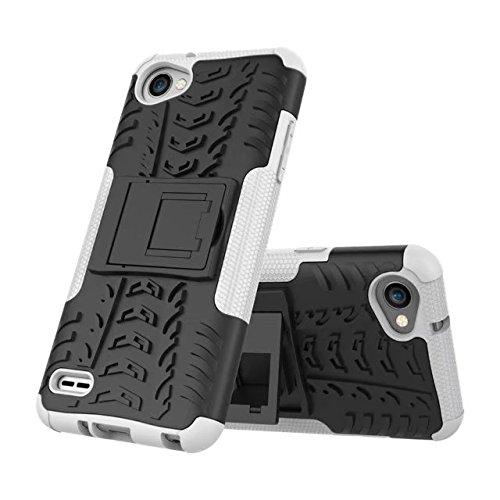 YHUISEN LG Q6 Case, Hyun Pattern Dual Layer Hybrid Armor Kickstand 2 in 1 Shockproof Gehäuse Cover Fo LG Q6 / LG Q6 Plus / LG Q6 Alpha ( Color : Red ) White