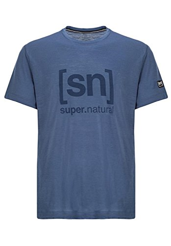 super.natural Herren M Essential I.D. Tee Merino T-Shirt, Dark Avio/Print, 54