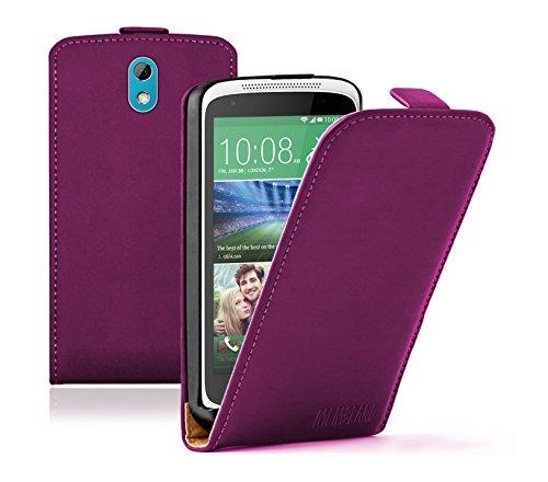 Membrane - Ultra Slim Lila Klapptasche Hülle kompatibel mit HTC Desire 526G Dual + 2 Bildschirmschutzfolien