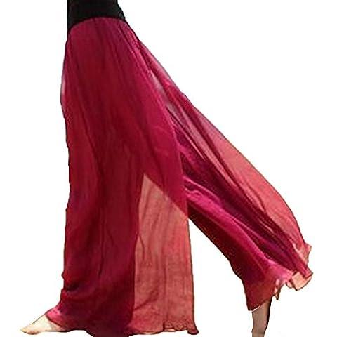 YAELUCKY Women Elastic Waist Retro Vintage Dress Silk Chiffon Pants Long Maxi Skirt (red)