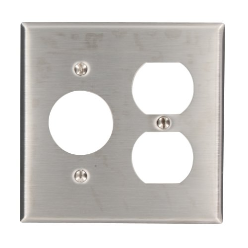 Leviton 84046-40 2-Gang 1-Duplex 1-Single 1.406-Inch Diameter, Device Combination Wallplate, Device Mount, Stainless Steel by Leviton - Leviton 1 Gang Single