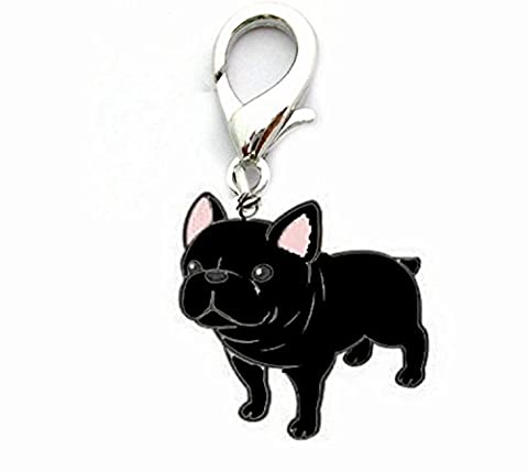 OHA Pet Bulldog Charm – French Bulldog Porte-clés en noir collier pour