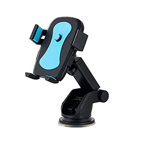 Handyhalterung Auto, Basico Universal verstellbare Halterung Halter für Windschutzscheibe & Armaturenbrett, universell für iPhone 7 plus/7/6 s Plus/6er/SE/5er/Huawei/Sony/HTC & Most 3.5-6er Smartphones (blau)