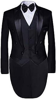 معطف رجالي رسمي من Cloudstyle 3 قطع بدلة للعشاء معطف ذو ذيل طويل