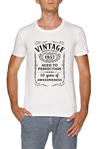 1d2400b6be90 Jergley Vintage Limited 1957 Edition - 60th Birthday Gift Maglietta T-Shirt  Bianco Uomo Dimensioni