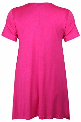 Purple Hanger - Damen T-Shirt Einfarbig Unregelmäßiger Saum Runder  Ausschnitt Kurzarm Stretch Top T ...