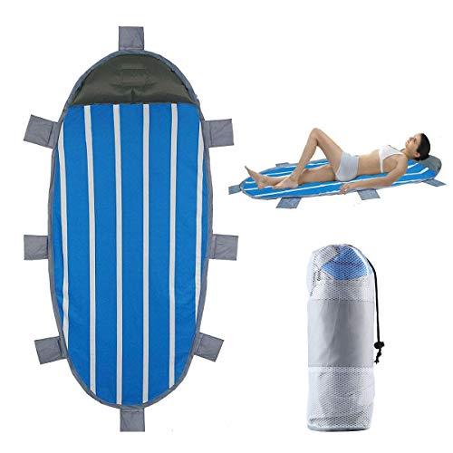 TEEPAO Sandfeste Stranddecke mit Kissen, kompakt, faltbar, Strandmatte, sandfrei, wasserfest, strapazierfähige Plane mit 8 Ecktaschen für Reisen, Camping, Sonnenbaden (83 x 94 cm)