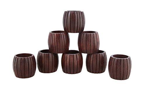 Shalinindia Anelli di tovagliolo artigianalmente in legno naturale-set di 8 anelli, RH_Z_1720_S8