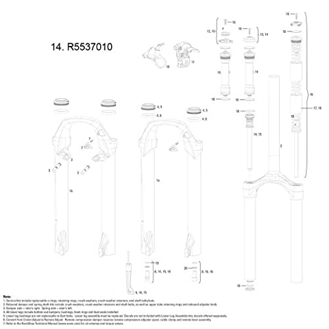 RockShox Ressort amortisseur Kit internes TurnKey Crown Adj (Comp/rebond &boutons 100 mm