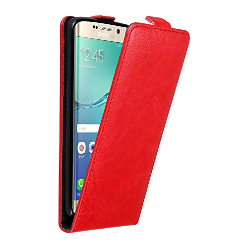 Cadorabo Hülle für Samsung Galaxy S6 Edge Plus in Apfel ROT - Handyhülle im Flip Design mit Magnetverschluss - Case Cover Schutzhülle Etui Tasche Book Klapp Style