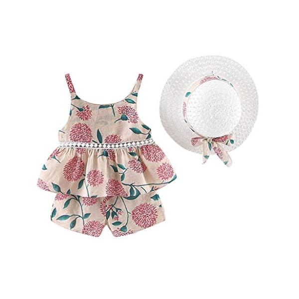 Trisee Chicas Trajes de Verano Trajes Florales para bebés Honda Camisetas sin Mangas sin Mangas, Pantalones y Conjunto… 4