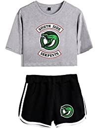 SERAPHY Riverdale Crop Top T-Shirts y Shorts Set para niñas y Mujeres