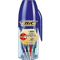 BIC Cristal - Tubo con forma de bolígrafo con 20 bolígrafos de colores surtidos