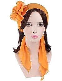 Huihong Elegante Estiramiento Retro Sólido Flores Turbante Sombrero Pañuelo  Musulmán Bastante Wrap Cap Quimioterapia Cáncer Pérdida bb82fa9951e