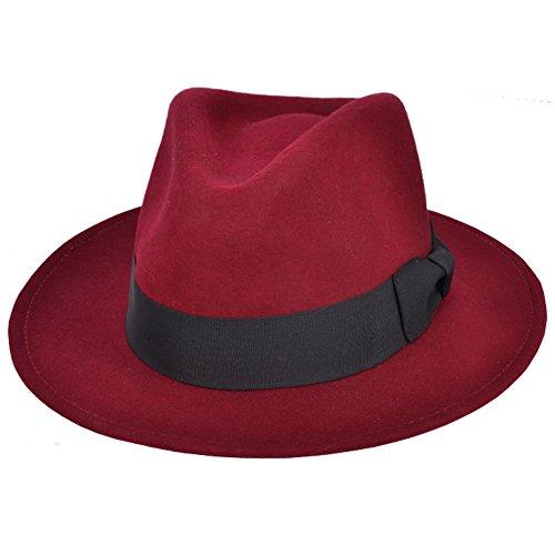 Maz Accessories - Sombrero de vestir - para hombre rojo granate 55 cm 8f3401d6b29