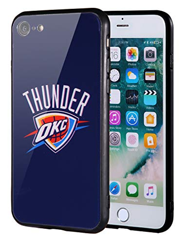 Die Masse iPhone 8Fall, iPhone 7Fall, NBA Team Logo auf gehärtetem Glas Backcover und Soft TPU Rahmen für Apple iPhone 8/7, 4.7 inch, Oklahoma City Thunder - Team-logo Iphone Fall
