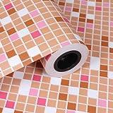 ZCHENG PVC Mosaik selbstklebende Tapete für Küche Backsplash Fliesen Vinyl Kontaktpapier Wasserdichtes Badezimmer Wand Dekor Wall Paper, Orange, 5mX60cm