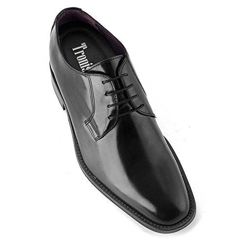 Scarpe con rialzo da uomo che aumentano l'altezza fino a 7 cm. fabbricate in pelle. modello oporto nero 40