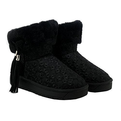 YE Damen Flache Leder Warm Gefüttert Schneestiefel with Fell Süße Fashion Elegant Winterstiefel Schwarz