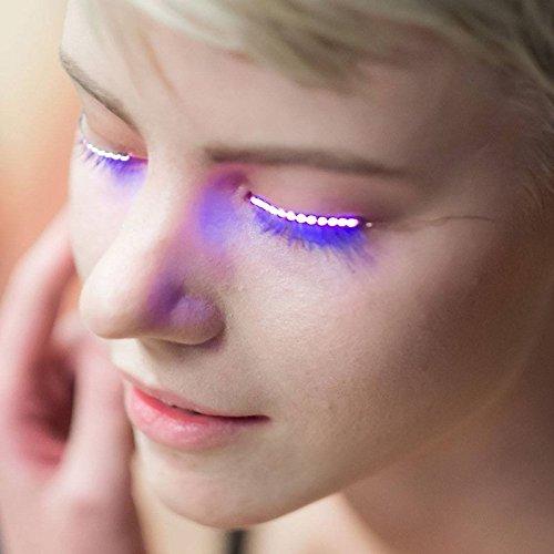 MSmask 2PCS LED Faux Cils lumineux Glowing étanche Secteur de la mode Outils de maquillage Saloon Bar Club Bar Party