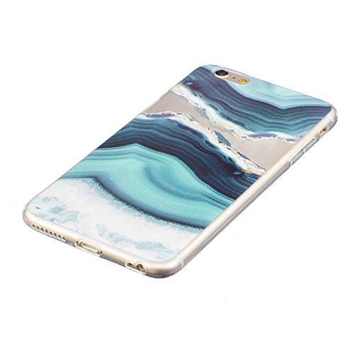 iphone 6 Plus Hülle, E-Lush TPU Soft Silikon Tasche Transparent Schale Clear Klar Hanytasche für iphone 6 Plus (5.5 Zoll) Durchsichtig Rückschale Ultra Slim Thin Dünne Schutzhülle Weiche Flexibel Hand See grünen Felsen