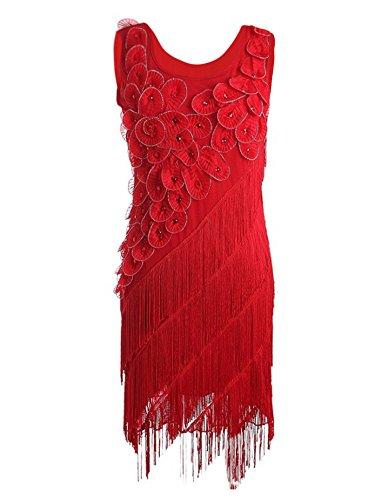 PrettyGuide Damen 1920er Perlen Fringe Scalloped Blutenblatt Hem Origami Flapper Dress Rot XL