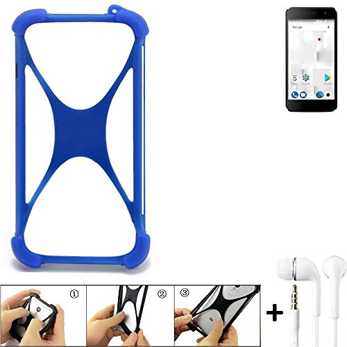 K-S-Trade Handyhülle Thomson Friendly TH101 Bumper Schutzhülle Silikon Schutz Hülle Cover Case Silikoncase Silikonbumper TPU Softcase Smartphone, Blau (1x), Headphones
