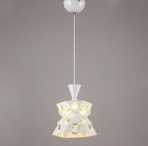 GL&G Eisen Licht Kristall Kronleuchter Anhänger Licht für Flur, Schlafzimmer, Küche, Kinderzimmer, LED-Lampe enthalten, warmes weißes Licht,1 head,19*24cm