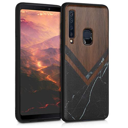 kwmobile Holz Schutzhülle für Samsung Galaxy A9 (2018) - Hardcase Hülle mit TPU Bumper Walnussholz in Holz Glory Marmor Design Schwarz Weiß Dunkelbraun - Handy Case Cover