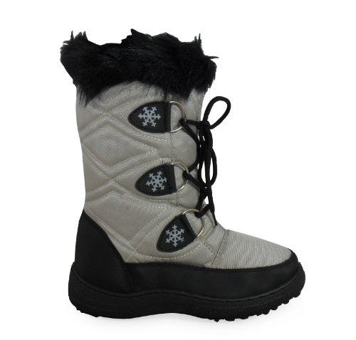 Loudlook Neue Frauen Ladies Black Lace Up Warm Winter Snow Regen Pelzstiefel Größe 3-8 Silver