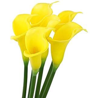 FiveSeasonStuff 6 Tallos Largos de Toque Real Artificial Amarillo Lirio de Calla Flores y Ramo, para Tienda Casa Restaurante Boda Decoración/DIY Arreglo Floral, 64cm (25.2 Inches)
