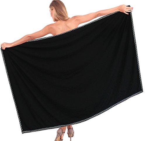 La Leela Rayon Zick-Zack-Grenze Badebekleidung schwarz Vertuschungsarong 78x42 Zoll glätten (Zick-zack-gedruckt Kleid)
