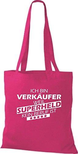 Shirtstown Stoffbeutel Ich bin Verkäufer, weil Superheld kein Beruf ist pink