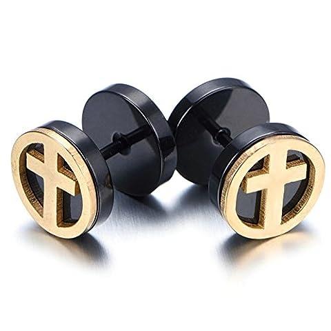 SanJiu Jewelry Men's Earrings Studs Set Round Circle Cross Stainless Steel Earrings for Men Black