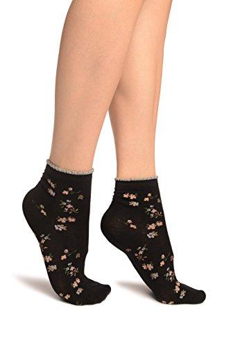 Black With Summer Flowers Ankle High Socks - Schwarz Socken Einheitsgroesse (37-42)