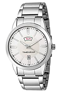 Timewear Analog Silver Dial Formal Day And Date Display Watch For Men - 187Sdtgch