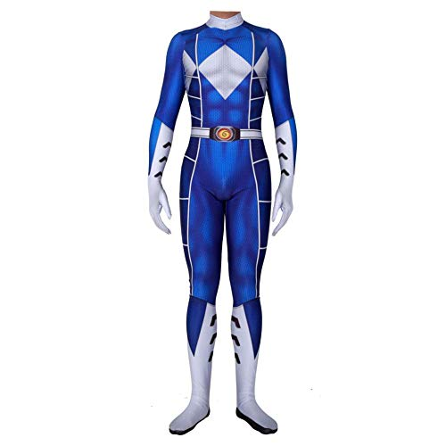 Kostüm Power Ranger Cosplay - Power Ranger Kostüm Kinder Erwachsener Cosplay Kostüm Superhelden Halloween Onesies Mottoparty Karneval Strumpfhosen Kostümball Prop,Blue-Child-L