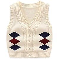 ZJEXJJ Chaleco de algodón del Muchacho del Chaleco del Chaleco de Punto de (Color : Beige, Tamaño : 120cm)