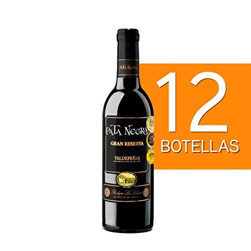 Lote de 12 botellines botellas vino pata negra valdepeñas gran reserva 375ml