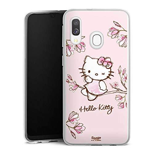 DeinDesign Silikon Hülle kompatibel mit Samsung Galaxy A40 Case Schutzhülle Hello Kitty Merchandise Fanartikel Magnolia