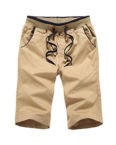 Uomo Casual Shorts Pantaloncini Mare Corti Bermuda Shorts Pantaloni Con Coulisse Cachi