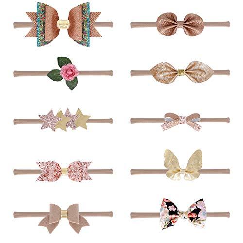 Yyooo Haarband für Neugeborene, für Kinder, champagnerfarben, dünn, Nylon-Stirnband, Kunstleder, Glitzer, Pailletten, Schleife, Haarreif, 0-5T, 10 ()
