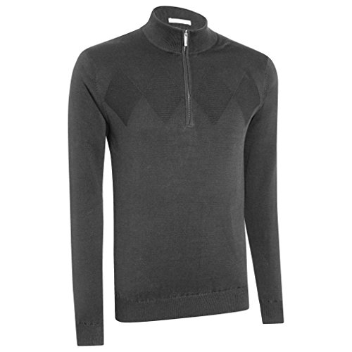 Ashworth Chest Diamond Texture 1/4 Zip Thermal Lined Wind Sweater Mens Golf Pullover Dark Grey Small - Ashworth Herren Pullover